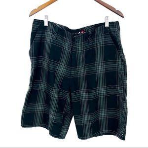 QUICKSILVER Black GreyPlaid Bermuda Shorts 34